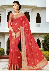 Old Rose Faux Chiffon Jacquard Saree with Blouse