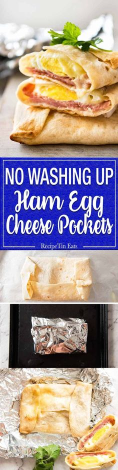 No Washing Up Ham Egg Cheese Pockets - Place ham on a wrap/tortilla, top with a ring of shredded cheese, crack an egg inside, wrap with foil and bake. A hot breakfast pocket! (Low Carb Dinner No Cheese) Breakfast Items, Breakfast Dishes, Breakfast Casserole, Breakfast Recipes, Breakfast Ideas With Eggs, Breakfast Tortilla, Egg Tortilla, Breakfast Ham, Breakfast Ring