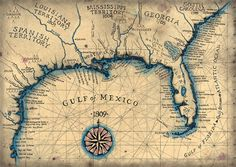 Old Map of the Gulf Coast 1809 Southeast Map Old by GeographicsArt, $35.00