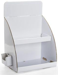 Countertop Cardboard Display, Side Brochure Holder, 2 Tiers, Removable Header - White