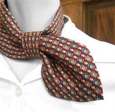 Woman ascot necktie necklace refashioned necktie by CuchiDesigns Ascot, Make A Tie, Old Ties, Tie Crafts, Neck Accessories, Diy Accessoires, Refashioning, Scarf Styles, Creations
