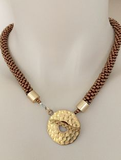 "Gold rush!  17"" long, beaded kumihimo necklace. N.stapleydesigns@gmail.com"