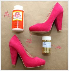 CUTE! Hate the pink, hate the gold...maybe blacka nd red?  DIY Glitter Shoes
