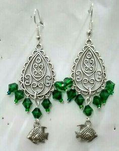 Oxidized chandelier earrings with green acrylic beads