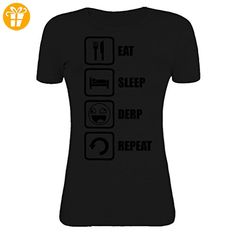 Eat Sleep Derp Repeat Funny Meme Graphic Womens T-Shirt Large (*Partner-Link)