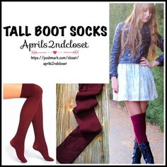 BOOT SOCKS TALL OVER THE KNEE THIGH HIGHS Tall Over The Knee Boot Socks Thigh Highs  💟 NEW WITH TAGS 💟  * Super soft knit fabric w/allover subtle ribbed detail  * Over the knee & extra long thigh high length  * Stretch-to-fit style; Tagged one size fits most   * Approx. Fits Shoe sizes 5-10.5 Fabric: 96% polyamide, 4% elastane  Color: Bordeaux  Item:91900  🚫No Trades🚫 ✅ Bundle Discounts✅ Boutique Accessories Hosiery & Socks