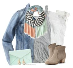 """""""Mint , stripes & denim"""" by steffiestaffie ❤ liked on Polyvore featuring AG Adriano Goldschmied, J.Crew, Marc by Marc Jacobs, Rebecca Minkoff and Sole Society"""