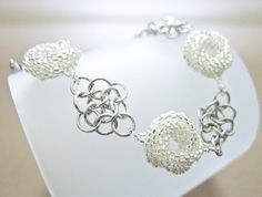 Chainmaille Beaded Silver Bracelet in Flower Love Knots OOAK Chainmail Handmade by JeannieRichard, $45