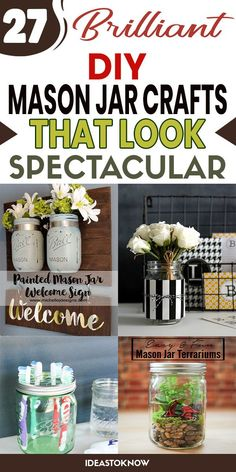 Tin Can Crafts, Crafts To Make And Sell, Diy Home Crafts, Jar Crafts, Nifty Crafts, Quick Crafts, Vinyl Crafts, Mason Jar Gifts, Mason Jar Diy