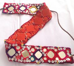 Traditional Hand embroidered Vintage banjara mirror work belt gypsy tribal authentic banjara embroidery - /kygarden/jingles/   BACK