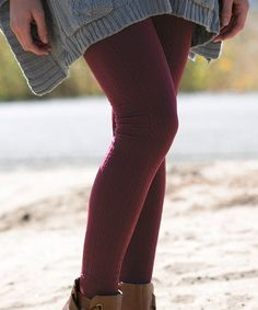Look at this #zulilyfind! Wine Cable-Knit Fleece Leggings by White Plum #zulilyfinds