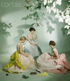 Celadon, chartreuse and soft pink trio of vintage gowns.