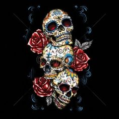 Three Sugar Skull With Roses Day of the Dead Womans LONG SLEEVE T Shirt Free Shipping 17033