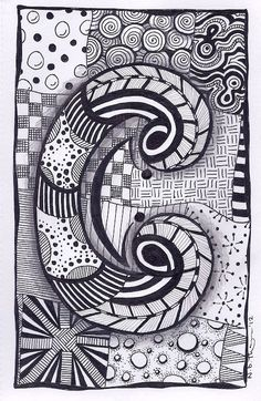 Zentangle, Letter C, ZebrA Letters, name, bunting via Etsy