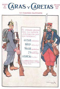 """Cuberta da revista """"Caras y Caretas"""", núm. 830 (29 de agosto de 1914). [Invertidas as cifras da ilustración, tal como suxire o texto, lese """"Hasta el fin nadie es dichoso""""]"""