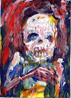 "zombie art, abstract , Acrylic original  ,ACEO  jack larson 3.5""x2.5"" #Abstract"
