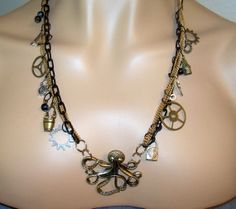 Steampunk Octopus Three Chain Necklace and by Ricksiconics on Etsy, $42.00