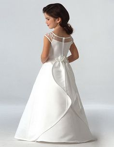 Affordable Simple Satin A-Line Floor Length First Communion Dresses