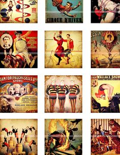 Antique Circus Posters inchies digital collage sheet