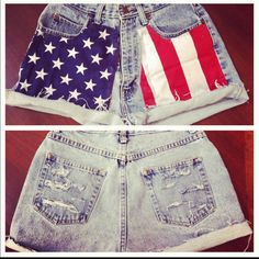 American flag custom made shorts. #DIY #red #white #blue