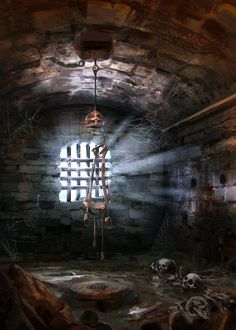 Ruins prison cell jail Dungeon No Dragons, Garrett Post High Fantasy, Medieval Fantasy, Fantasy World, Fantasy Art, Dungeon Room, Dnd Art, Fantasy Places, Fantasy Setting, Fantasy Landscape