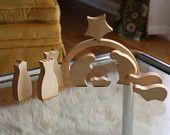Modern Nativity Set in Wood by Little Alouette 10 piece set. $75.00, via Etsy.