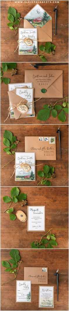 Beautiful landscape wedding invitations #winterwedding #winter #weddingstationary #ecofriendly #handmade #rustic #wood