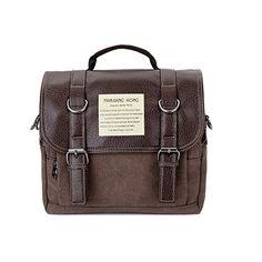 HongyuTing Vintage Canvas Leather Messenger bag BackpackBriefcase Shoulder Bag4 in 1 Multifunction bag for BusinessSchool CasualCoffeeOne Size ** Click image to review more details.
