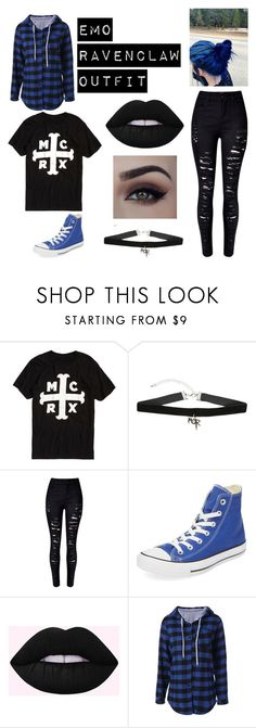 """""""Emo Ravenclaw Outfit"""" by theepicfranzers ❤ liked on Polyvore featuring Hot Topic, WithChic, Converse, harrypotter, hogwarts, emo, hp and ravenclaw"""