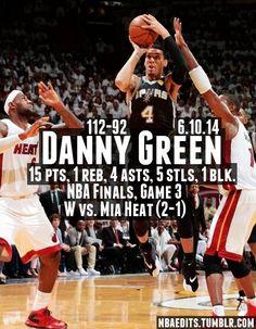 Spurs Danny Green GAME 3 NBA STATS VS HEAT