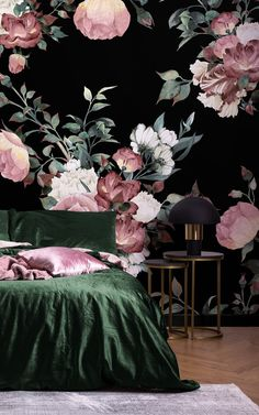 Create a stylish living room or bedroom interior with our vintage pink & black floral wallpaper mural. Black Wallpaper Bedroom, Black Flowers Wallpaper, Dark Green Wallpaper, Room Wallpaper, Botanical Bedroom, Floral Bedroom, Bedroom Green, Feature Wall Bedroom, Bedroom Wall Colors