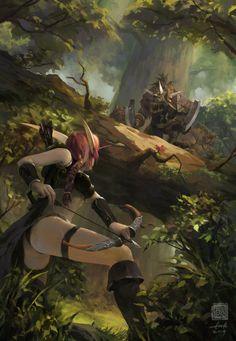 World of Warcraft - Hogger, la Perdición del Bosque de Elwynn- cazadora elfa