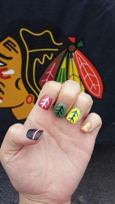 Chicago Blackhawks Nail Art