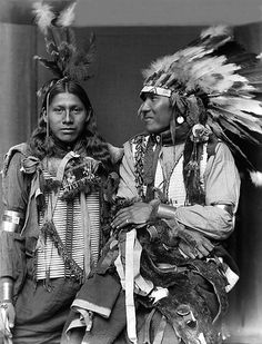 Sioux men identified as Holy Frog and Big Turnips, were both part of the Buffalo Bill's Wild West Show. Photographed in 1900 by Gertrude Käsebier.