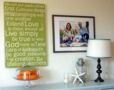 write a family purpose statement and have it turned into a piece of art by Red Letter Word...love this!