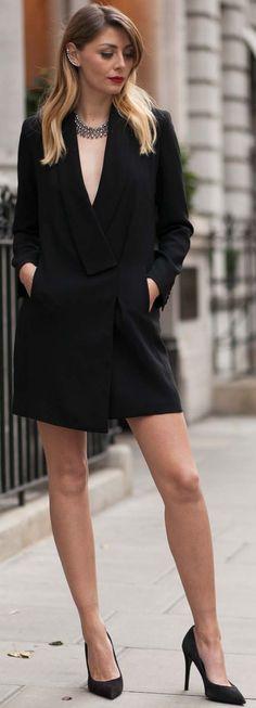 E J Style Black Blazer Dress Holiday Style Inspo                                                                             Source