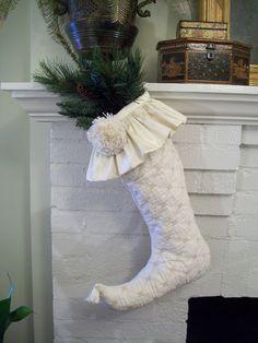 white stocking - love the mini tassel on the end