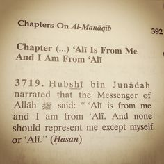I am from Ali... None should represent me... Jami' al-Tirmidhi  Book Reference: Volume 6, Chapter 20, Hadith 3719  Online Reference: sunnah.com/urn/635990 -----------------------------