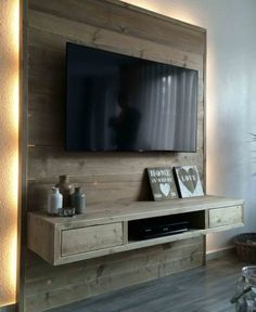 pallet wall living room with tv - palettenwand wohnzimmer mit tv pallet wall living room with tv - Corner pallet wall - Planter pallet wall - pallet wall Grey Tv Wall Design, House Design, Wall Behind Tv, Tv Wanddekor, Tv Wall Cabinets, Kitchen Cupboards, Tv Stand Designs, Muebles Living, Tv Wall Decor