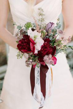 Wine wedding bouquet