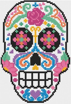 PDF Sugar Skull Dia de Los Muertos Cross by LupineLaneDesign