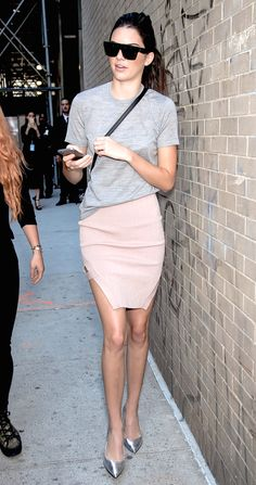 Le Fashion Blog Kendall Jenner Style Flat Sunglasses Grey Tee Crossbody Bag Pink Skirt Metallic Silver Heels Via Who What Wear
