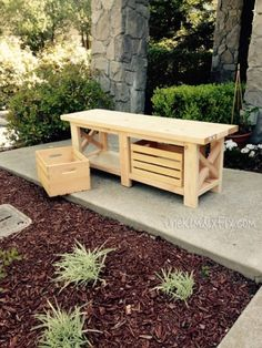 DIY X-Leg Wooden Bench With Crate Storage | Shelterness