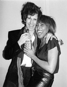 Keith Richards of the Rolling Stones and Tina Turner, backstage at the Ritz in New York City, January 1983.