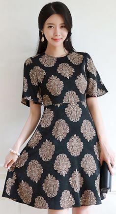 StyleOnme_Antique Motif Print Flared Sleeve Dress #elegant #patterned #dress #black #prefall #koreanfashion #kstyle #kfashion #seoul #dailylook