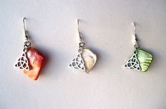 Triquetra Charm and Shell Earrings  Orange by TheWhimsicalWodgelet, $7.00