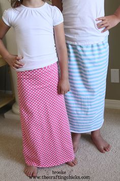 Girls Knit Maxi Skirt Tutorial - The Crafting Chicks