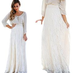 Women Lace Soft Comfortable Double Layer Pleated Long Maxi Skirt Elastic Waist Skirt Size S Color A Long Maxi Skirts, Pleated Maxi, Dress Long, Women's Skirts, Dress Skirt, Lace Skirt, Lace Dress, Amazon Dresses, Elastic Waist Skirt