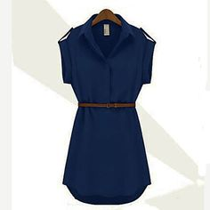 Shirt risvolto Chiffon Cap Stretch Sleeve Donna Mini abito con cintura – EUR € 11.99