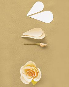 Rose Use five small and seven large petals (get the template below) and a bud stamen. Cup petals at a point just below middle; curl upper edge outward. Pleat base of each petal; pinch folds in place. Attach petals to stamen, first positioning small petals lower on stamen and tightly curled around it; raise each subsequent ring of petals slightly, overlapping petals.